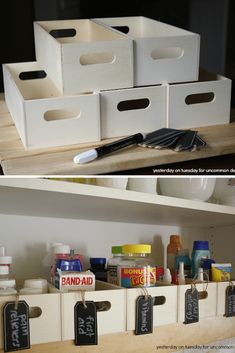 ideas for storing medicine - wooden craft boxes for storing medicine Medicine Storage, Medicine Organization, Organize Medicine, Bedroom Organization Diy, Organization Ideas, Storage Ideas, Pull Down Spice Rack, Plastic Bowls, Cabinet Space