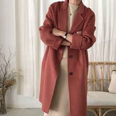 pink coat neutral outfit