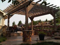 Pergola For Sale Craigslist Info: 4544363422 Timber Pergola, Pergola Patio, Outdoor Landscaping, Pergola Plans, Backyard Patio, Outdoor Gardens, Pergola Ideas, Patio Ideas, Pool Porch