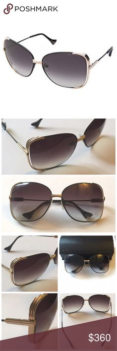 Dita - Mariposa 18K Gold Oversized Sunglasses Dita - Mariposa Sunglasses 18K Gold & Faux Leather Butterfly Shape     * Dita oversized 18-karat gold sunglasses w faux-leather spray treatment.     * Measurements: 60-14-128.     * Square dark gray gradient lenses.     * Ridged tiered frame sides; 18K gold ridged temple hinges.     * Thin arms.     * 100% UVA/UVB protection     * Seen on Kim Kardashian    * Retail Price: $480…