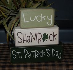 Lucky Shamrock St. PATRICK'S DAY Wood Sign Shelf Blocks Holiday Seasonal Primitive Country Rustic Home Decor Gift. $26.95, via Etsy.