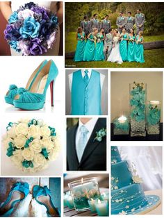 Turquoise wedding...light gray suits look great with turquoise ties! Very spring/summery