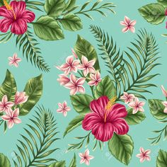 Tropical Floral Seamless Pattern With Plumeria And Hibiscus Flowers Royalty Free Cliparts, Vectors, And Stock Illustration. Image 36911091.