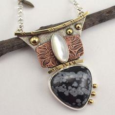 Stone Necklace  Metalsmithed Necklace  by DeborahCloseDesigns