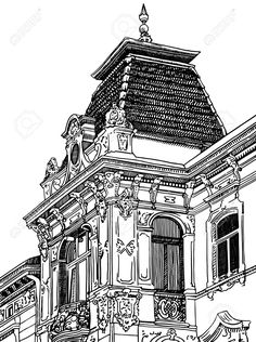 Digital Drawing Of Lviv (Ukraine) Historical Building Royalty Free Cliparts, Vectors, And Stock Illustration. Building Drawing, Building Art, Outline Drawings, Cool Art Drawings, Buildings Artwork, Drawings Of Buildings, Art Alevel, City Sketch, City Drawing