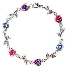 Swarovski Crystal Pink Purple Blue Pastel Color Rose Flower Floral Charm Chain Bracelet Christmas Be Bridesmaid Jewelry, Bridal Jewelry, Jewelry Gifts, Beaded Jewelry, Blue Purple Wedding, Pink Purple, Beautiful Rings, Beautiful Necklaces, Stone Bracelet