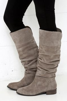 Grey Suede Leather Knee-High Boots