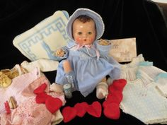 """STUNNING"" Vintage Effanbee Dy-Dee Doll RARE Brunette 15"" with her Layette, born in 1937"