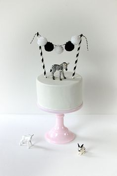Mini Zebra Animal Cake Topper | www.onefabday.com