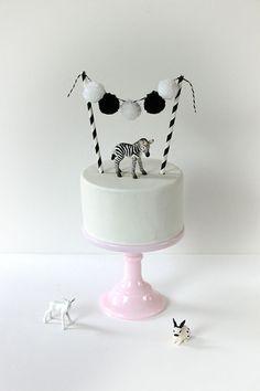 Mini Zebra Animal Cake Topper | www.onefabday.com