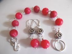 Red Agate Bracelet and Earrings set. Starting at $8 on Tophatter.com!