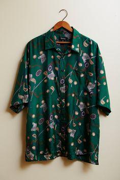 1990s Volare Green Golf Print Silk Button Up Shirt  XL by SoftServeVintage