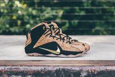 NIKE LEBRON 12 CORK HAZLENUT/METALLIC GOLD-BLACK #sneaker