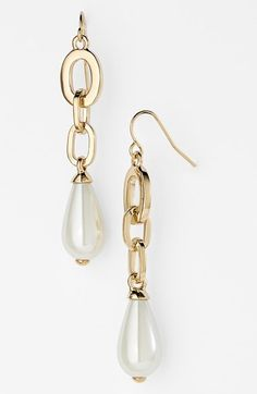 Lauren Ralph Lauren Faux Pearl Linear Earrings available at #Nordstrom