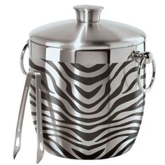 Oggi Zebra Stainless Steel Double Wall Ice Bucket