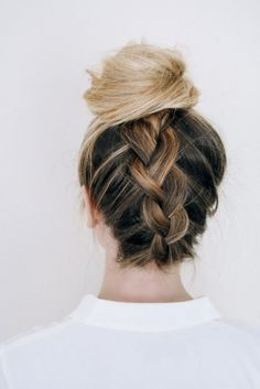 Glam up your hair with an upside down braided bun.