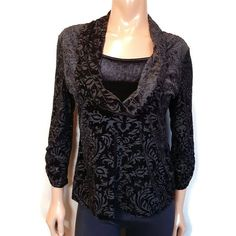 Vtg Notations Mock Twinset Top Womens Petite Size Large Black Velvet Sequin Cowl #Notations #MockTwinset #PartyCocktail Petite Size, Black Velvet, Large Black, Cowl, Long Sleeve Tops, Vintage Outfits, Sequins, Sleeves, How To Wear