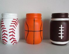 Set of 3 Hand-Painted Sports Themed Mason by MidnightOwlCandleCo