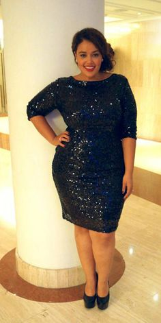 DKNYC Plus Size Dress, Long-Sleeve Surplice Sequin - Plus Size ...