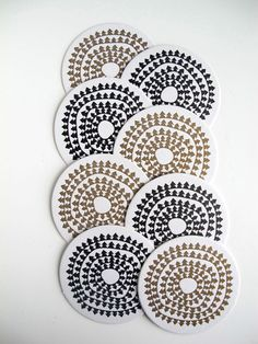 Items similar to Letterpress Holiday Coasters - Set Black & Gold Set of 8 on Etsy Paper Place, Gold Set, Paper Goods, Coaster Set, Letterpress, Black Gold, Design Inspiration, Gift Wrapping, Diy Crafts