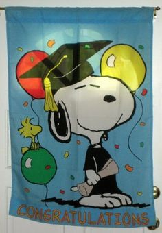 Snoopy Woodstock Graduation Congratulations Decorative Garden Flag 28 x 40 Peanuts Gang Polyester $14