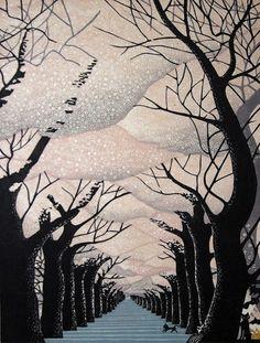 """""""Cherry Blossom at Yanaka"""" woodblock, by Ray Morimura"""