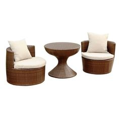 Bowery Hill Outdoor Wicker 3 Piece Chair Set in Brown