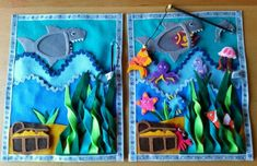 The Ocean. This is my favourite page so far, and it took the longest to make… Diy Quiet Books, Baby Quiet Book, Felt Quiet Books, Felt Animal Patterns, Quiet Book Patterns, Stuffed Animal Patterns, Montessori Activities, Book Activities, Little Mermaid Play