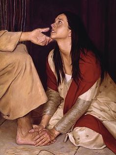 """When one of the Pharisees invited Jesus to have dinner with him, he went to the Pharisee's house and reclined at the table. A woman in that town who lived a sinful life learned that Jesus was eat… Pictures Of Jesus Christ, Bible Pictures, Lds Art, Bible Art, Mary Of Bethany, Christian Artwork, Bride Of Christ, Prophetic Art, Biblical Art"