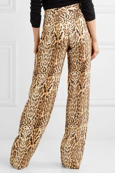 Adam Lippes - Printed Wool-twill Wide-leg Pants - Leopard print