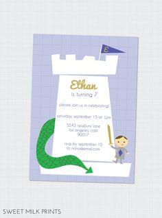 Printable Knight Dragon Children's Birthday Invitation. $13.00, via Etsy.