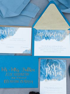Water color blue and gold wedding invitation suite