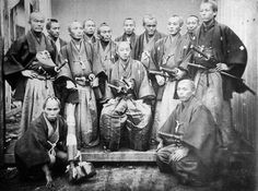 """The Prince of Satsuma and his principal retainers - 1866 (photo from """"Early Japanesese Images"""" Bennett 1996)."""