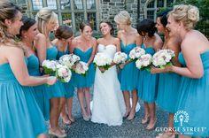 A bright, blue-hued bridal party!