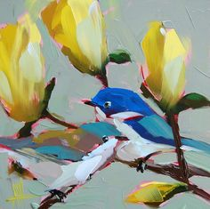 Cerulean Warblers on Magnolia Branch Painting, Angela Moulton