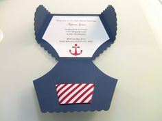 10 Nautical Shower Invitation Cards Diaper Invitation by zuCards