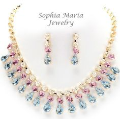 Elegant blue teardrop pink crystal gold evening necklace set bridal prom party Offered by #sophiamariajewelry on eBay