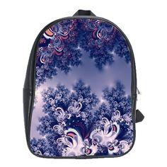 Pink and Blue Morning Frost Fractal School Bag (XL)...#purses #bags #fractals #pink #blue #RoseSantuciSofranko #Artists4God #frost #Winter #designer #cowcow #backpacks