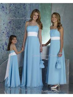 A-line Draped/Ruffles/Sash Sleeveless Light-Sky-Blue Chiffon Bridesmaid Dress