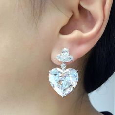 Happy Chinese Valentine's Day! A pair of 25 carats each, heart-shaped D colour internally flawless clarity diamond ear pendants #ChristiesJewels #christiesprivatesales