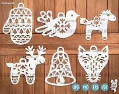 Christmas Baubles SVG Bundle SET 6  Mitten Deer Fox Horse