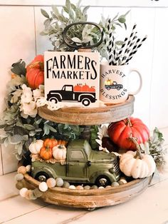 Farmers Market Tiered Tray Sign, Farmhouse Truck Pumpkin Sign, Autumn Sign, Tray Sign, Farmhouse Truck Sign - New Deko Sites Fall Home Decor, Autumn Home, Thanksgiving Decorations, Seasonal Decor, Apple Decorations, Autumn Decorations, Kitchen Decorations, Christmas Decor, Holiday Decor