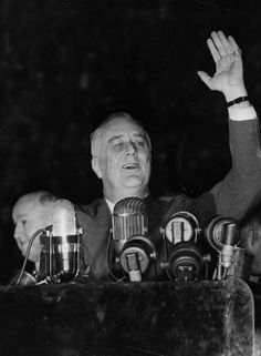 1940 -- Franklin D. Roosevelt --  American President Franklin Delano Roosevelt (1882 - 1945) speaking to a crowd of 25,000 at Madison Square Garden in New York on Nov. 8, 1940, before his sweeping re-election for a third term. (Photo by Fox Photos/Getty Images)