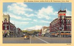 Provo Utah north on Academy Ave business area linen antique pc Z22339
