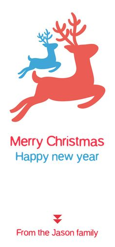 Merry Christmas and Happy new year raindeer card