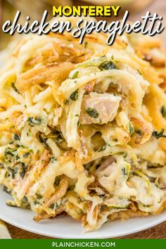 Monterey Chicken Spaghetti Casserole – my whole family went crazy over this easy chicken casserole!! Even our super picky eaters! *chicken *spaghetti *sour cream *cream of chicken *spinach *Monterey Jack Cheese *french fried onions Use a rotisserie chicken for quick prep. Makes a great freezer meal! This is the most requested dinner in our house. #casserole #chickendinner #chickencasserole #spinach #easymeals #quickmeals #familydinner #spaghetti #pasta #rotisseriechicken #chicken #easydinner Chicken Spaghetti Casserole, Chicken Spaghetti Recipes, Pasta Recipes, Cooking Recipes, Chicken Casserole With Stuffing, Leftover Fried Chicken Recipes, Chicken Recipes For Dinner, Chicken And Spinach Casserole, Chicken Tetrazzini Recipes