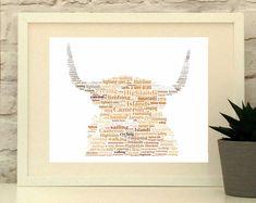 Highland Cow Gift Ideas - All About Cow Photos Handmade Home Decor, Handmade Shop, Handmade Gifts, Personalised Cushions, Personalised Gifts, Highland Cow Gifts, Cow Photos, Cow Art, Fabric Gifts