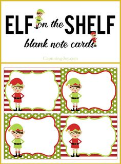 Elf on a Shelf blank note cards for Christmas. Free printable on Capturing-Joy.com
