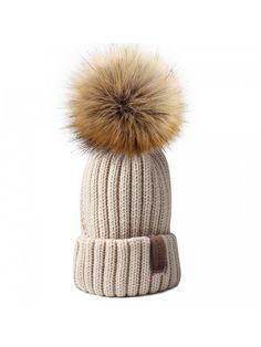 24a47e0b595 Womens Knitted Winter Pom Beanie Hat Faux Fur Pom Pom bobble Hat beanie for  girls - Beige - CJ185UEZLZ5