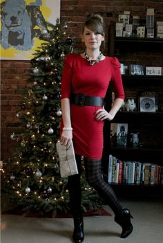 Holiday Style #red #dress #black #belt #leggings #booties #boots #gold #clutch #christmas #holiday